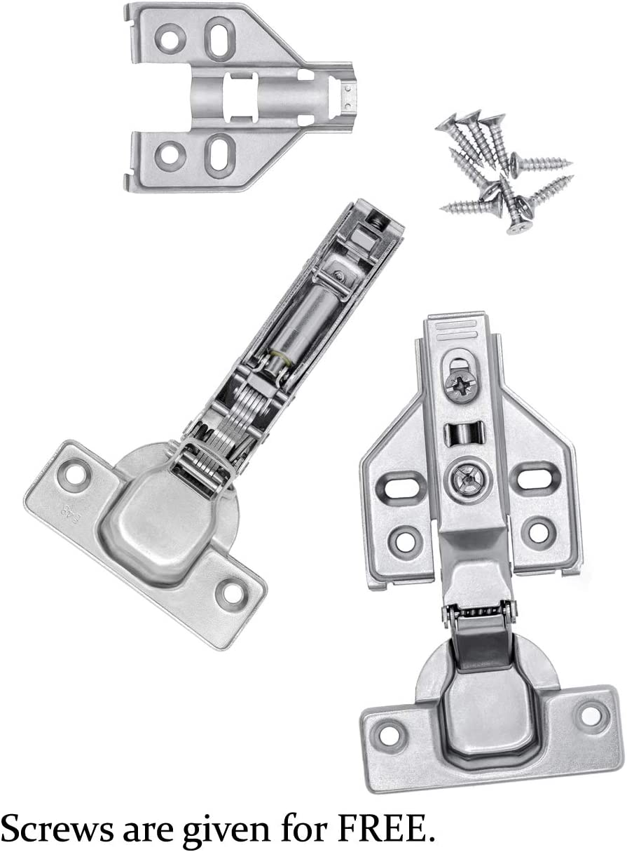 Luokim 2pcs 110 Degree Frameless Cabinet Door Concealed Hinges,Full Overlay,Nickel Plated