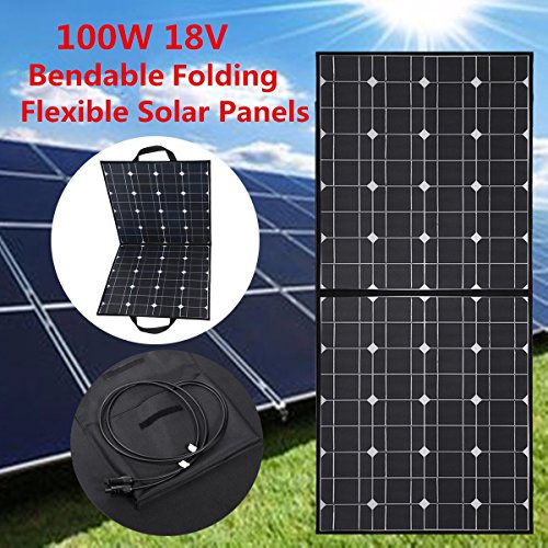 Solar Panel, MOHOO 100W Bendable Foldable Thin Lightweight Solar Panel Battery Charger with MC4 Connector Charging For RV, Boat, Cabin,Tent Car(Compatibility with 18V and Below Devices) Updated