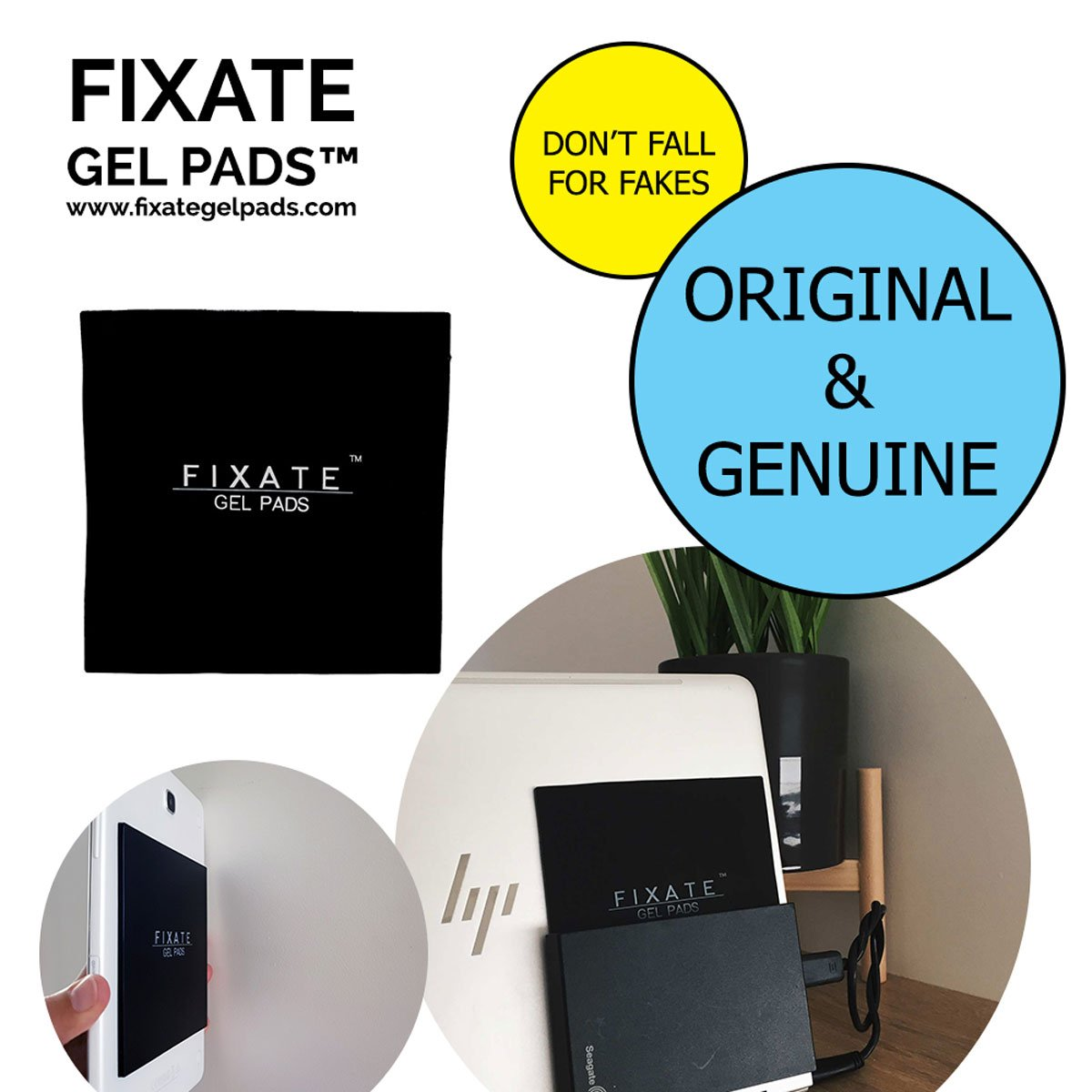 Fixate Gel Pads Large Square : Official -DON'T BE FOOLED BY IMITATIONS