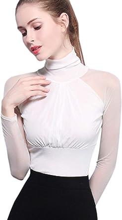Tops Mujeres Recorte De Cuello Alto Elegante Slim Fit Blusa ...