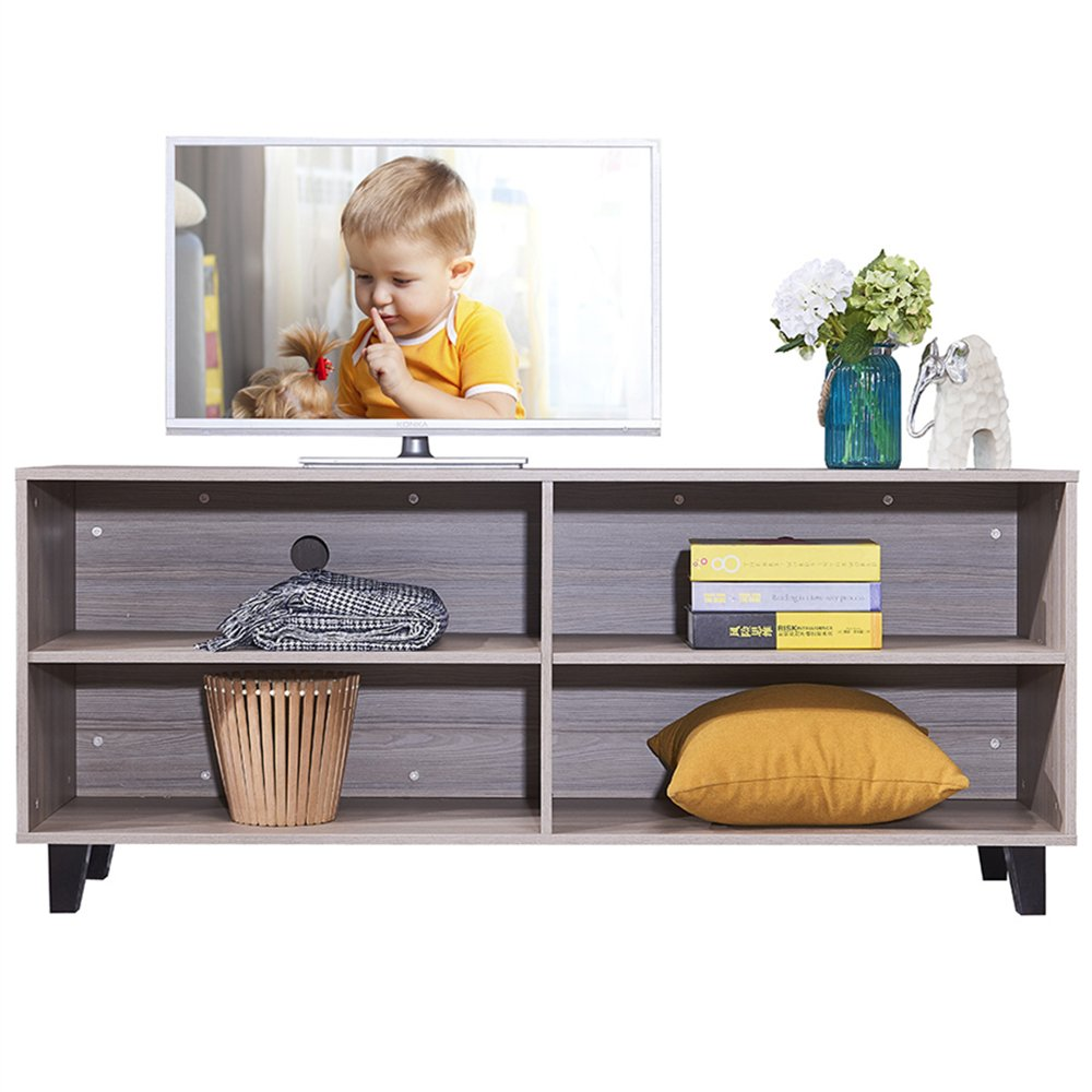DlandHome TV Stand WF-TVG001TK, 4-Cube, 58'' Entertainment Center Console Storage Cabinet, Composite Wood Board, Teak, 1 Pack