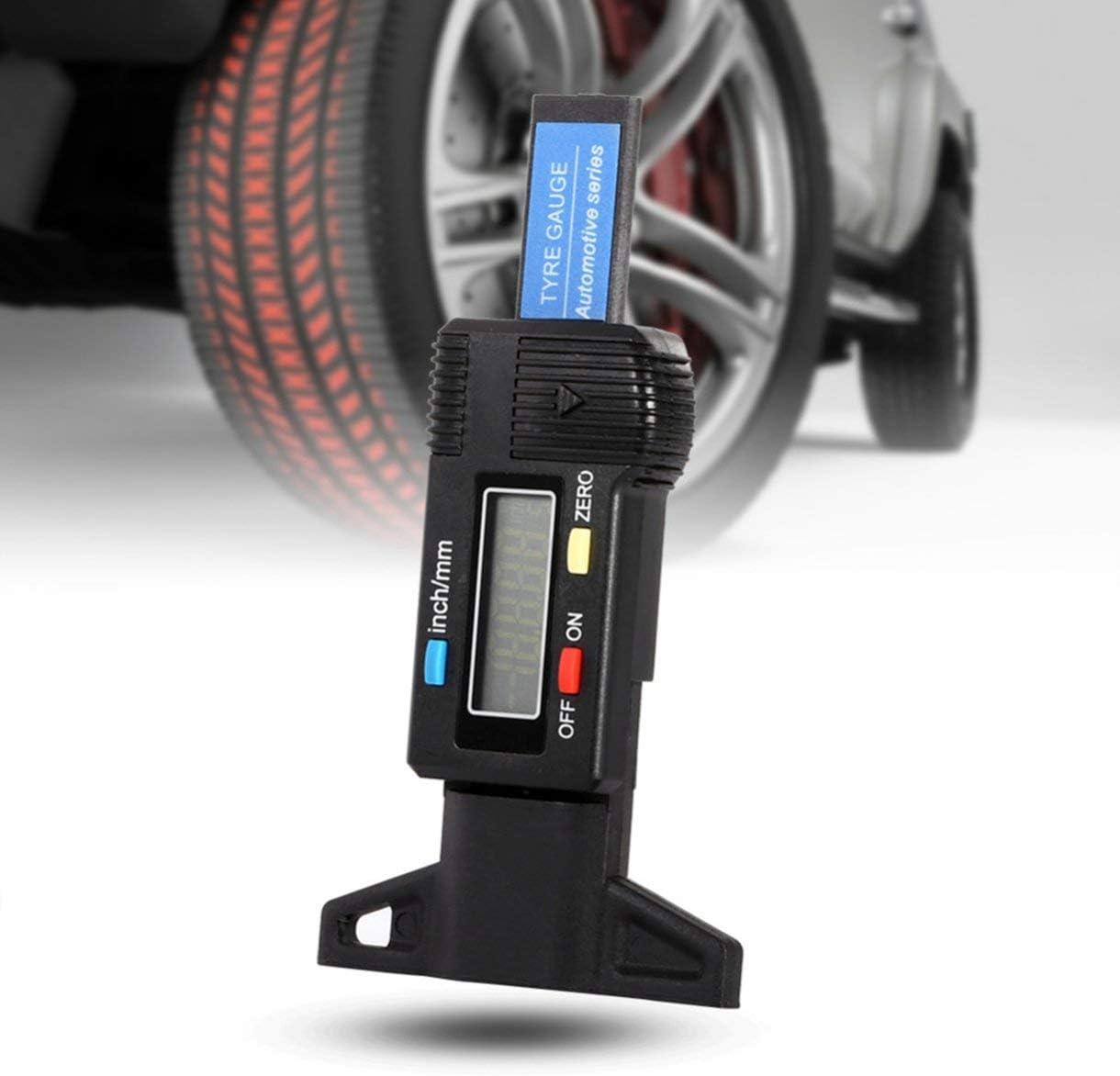 Farbe: schwarz 0-25.4mm 0,01 Digitales Profiltiefenmesser Elektronisches LCD-Reifen Reifen-Rad-Profiltiefenmessger/ät Bremsmesswerkzeuge
