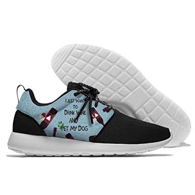 I Just Want To Drink Wine And Pet My Dog Men's Print Casual Sport Shoes Fashion Breathable Sneaker Running Shoes