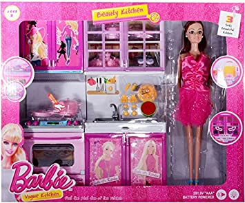 Buy Toytree Beautiful Barbie Kitchen Set With Doll Light And Sound