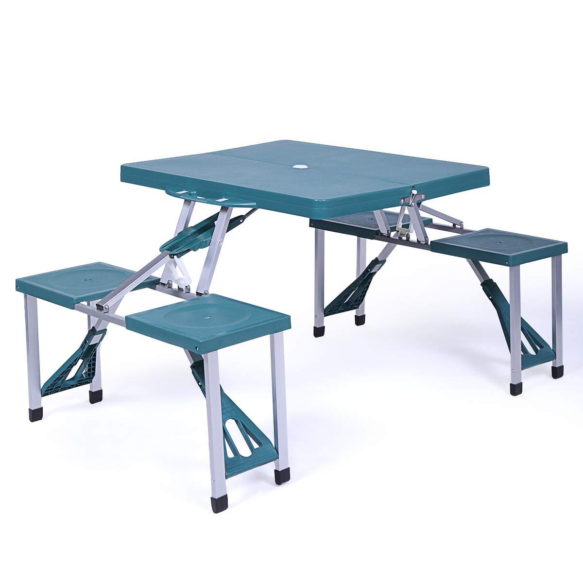 JAXPETY Dark Green Portable Folding Plastic Camping Picnic Table Outdoor Garden W/Case