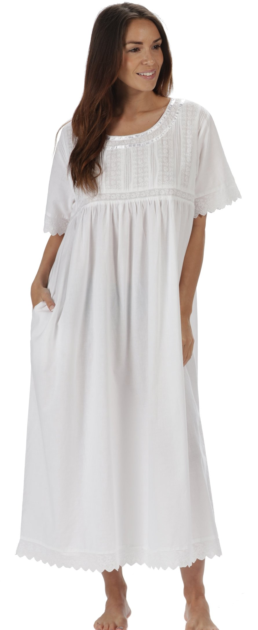 The 1 for U Nightgown 100% Cotton Sizes XS-3XL Helena (Large, White - Short Sleeves)
