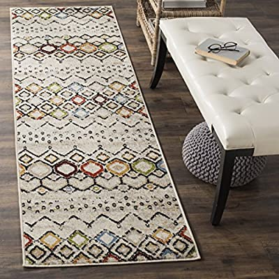 """Safavieh Amsterdam Collection AMS108K Southwestern Bohemian Ivory and Multi Runner (2'3"""" x 10') - Stunning polypropylene fibers make this rug soft and luxurious to the touch The power loomed Construction adds durability to this rug, ensuring it will be a favorite for many years The modern, Abstract Pattern of these rugs will give your room a fresh accent - runner-rugs, entryway-furniture-decor, entryway-laundry-room - 61otMFteS L. SS400  -"""