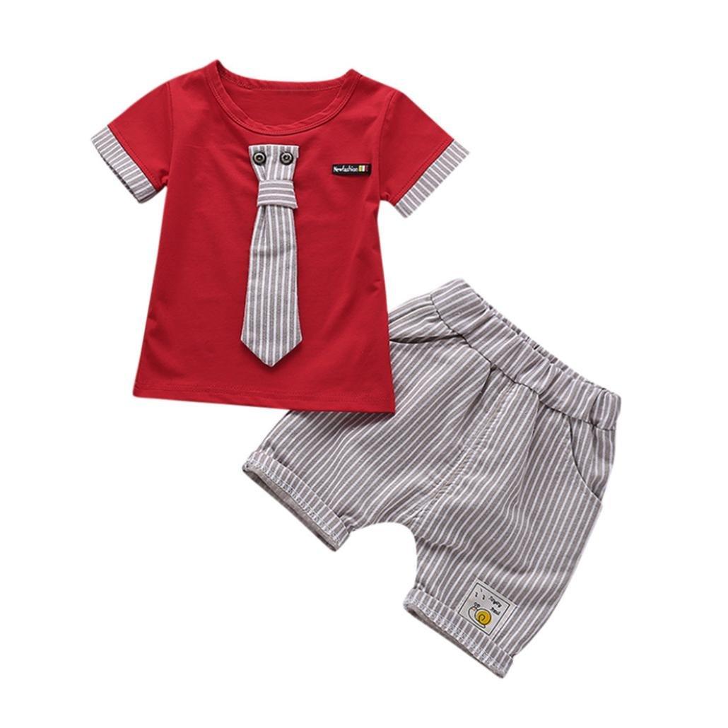 c3c042ce6 Amazon.com  Kstare Baby Boys Short Sleeve Striped Tie T-Shirt Tops+ ...