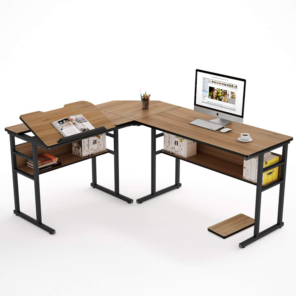 Tribesigns Modern L-Shaped Desk with Bookshelf, 67 inch Double Corner Computer Office Desk Workstation Drafting Drawing Table with Tiltable Tabletop for Home Office (Oak) by Tribesigns