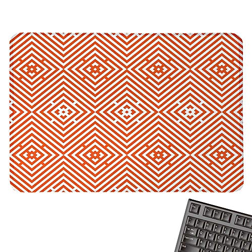 Burnt OrangeLarge Mouse padRhombuses in Bullseye Pattern with Herringbone Zigzag StripesComfortable Mousepad 15.7