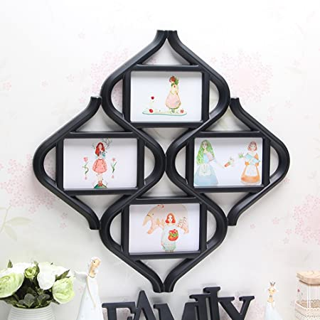 Wall Hanging Wood Photo Frames with 4 Photos, Rhombus Chinese Knot ...