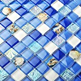 TST Glass Conch Tiles Beach Style Sea Blue White Glass Mosaic Mother of Pearl Resin for Bathroom Shower TSTNB07 (11 Pieces (11.8x11.8 Inch/each))