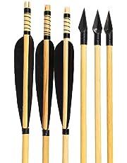 Huntingdoor 6Pcs Frecce da tiro con L'Arco in Legno di Piuma Nera Frecce da Caccia con Punta in Metallo 150 di Freccia