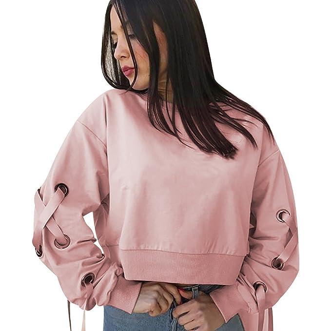 ISSHE Sudaderas Cortas Mujer Sudadera Cuello Redondo Chica Oversize Pullover Juveniles Camisas Camisetas Manga Larga Chicas Anchas Invierno Suéter Jersey ...