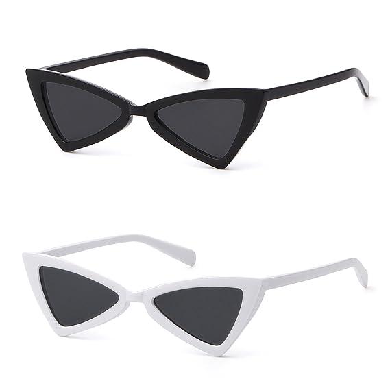 ADEWU Petit Triangle Lunettes De Soleil Rétro Sexy Cat Eye Eyewear avec Lentille  Teintée pour les 8d8aba1636a1