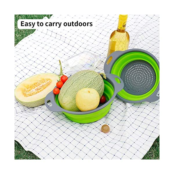 61otO AiBXL Colosun Zusammenklappbares Sieb-Set, tragbar, faltbar, Filterkörbe, Schüsseln, Behälter, Gummi-Sieb für Küche, Camping…