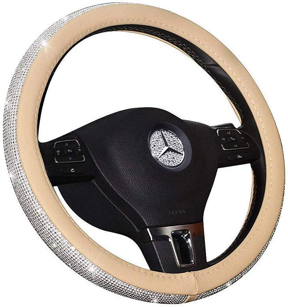 Aristocracy with Bling Matrix Diamond A - Pink Simple and Elegant Design Car Steering Wheel Cover for Ms Soft and Durable Leather Stylish Collection Auto Accessories Universal 15 38cm