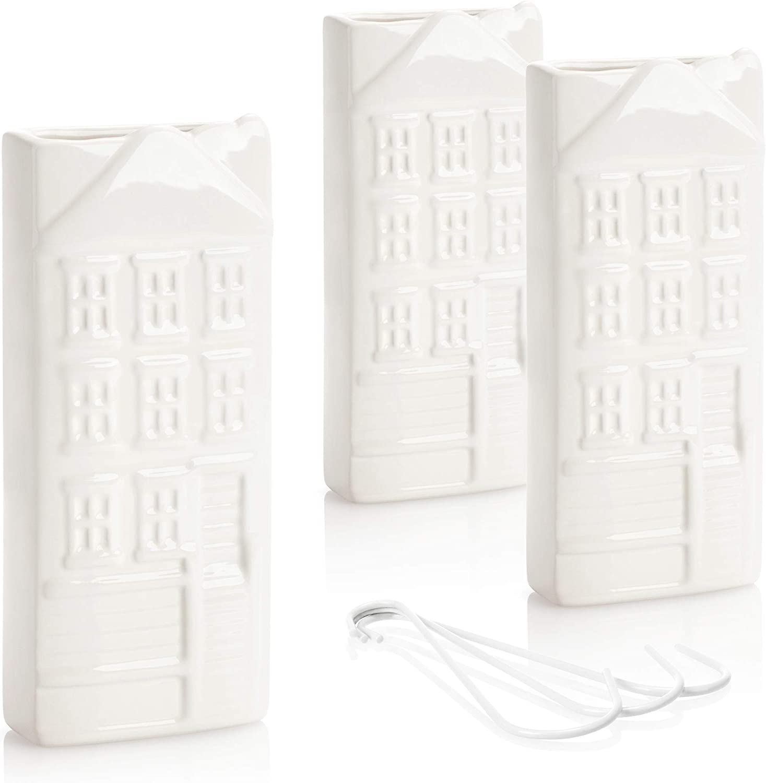 com-four® Humidificadores 3X - Humidificador de radiador en Blanco - Difusor de Aire frío para Dormitorio - Evaporador de Agua de cerámica con Motivo de casa para el hogar (weiß - Haus)
