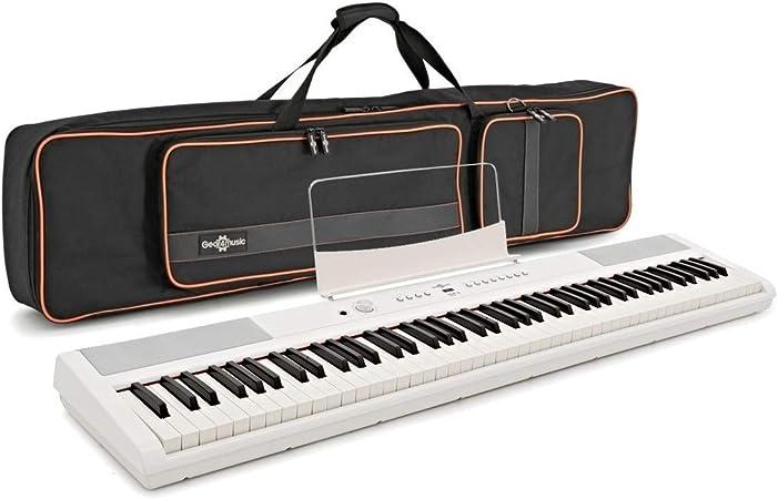 Set de Piano de Escenario SDP-2 y Funda de Gear4music Blanco