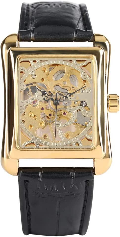 Liandd Rectangle Hand-Wind Relojes mecánicos Watch Band Reloj mecánico Skeleton Cool Clock