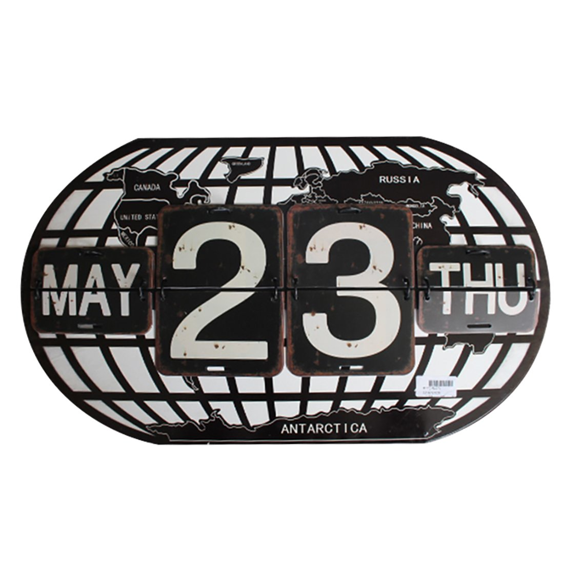 Archi 20.5'' Metal Calendar Shabby Black Perpetual Flip World Map Shape Distressed Finish Wall Hanging-Reproduction (Ellipse, Black)
