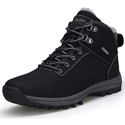 TSIODFO Men's Boots Winter Waterproof Leather Outdoor Hiking Shoes Black Brown | Hiking Boots