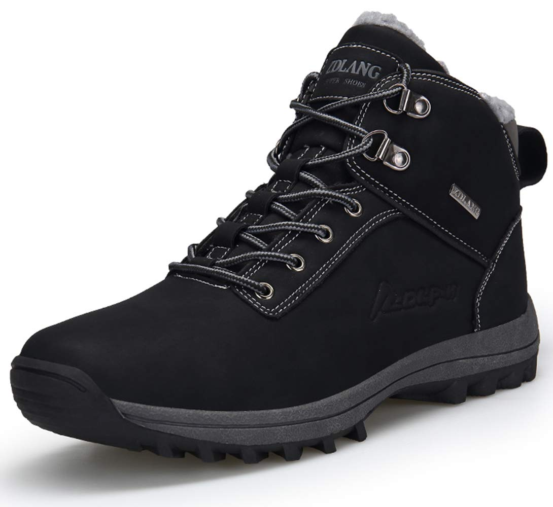 TSIODFO Men Boots Waterproof PU Leather Black Mens Hiking Boots Backpacking Boots Size 11 (572black45) by TSIODFO