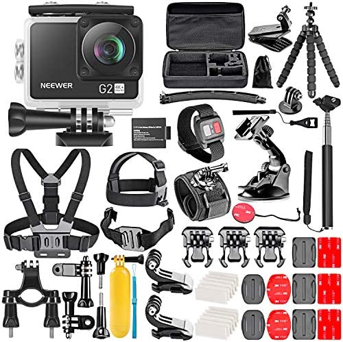 Neewer G2 4K WiFi Sports Action Camera with Touch Screen Ultra HD Waterproof DV Camcorder 12MP 4K 30FPS EIS 170 Degree Wide Angle WiFi Sports Cam with Remote Battery and 50-in-1 Accessories Kit