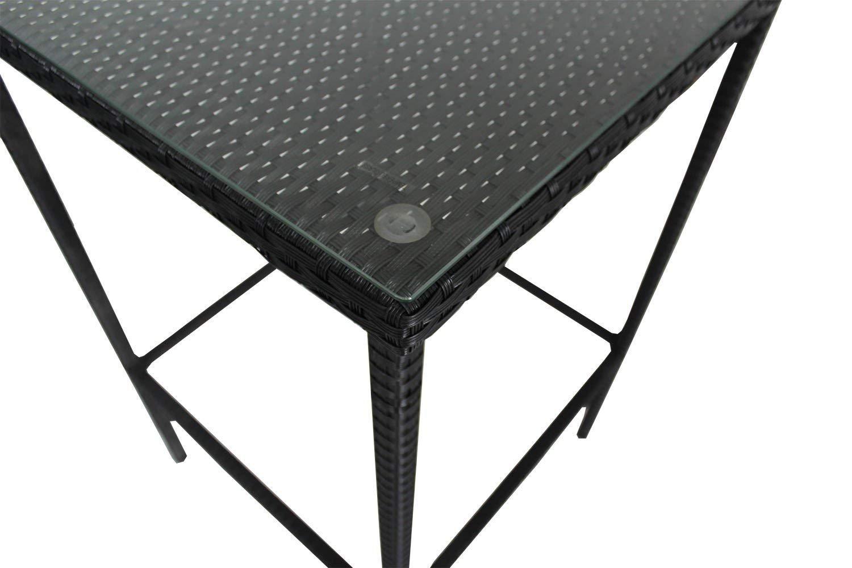 Patio Rattan Bar Table High Leg Suqare Bar Table Match Bar Stools Outdoor Garden Dining Table Black Rattan (S)
