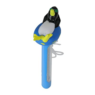 """8.5"""" Blue and White Relaxing Penguin Floating Swimming Pool Thermometer with Cord: Home Improvement"""