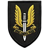 "SpaceAuto United Kingdom British Army Special Air Service Forces Operation Insignia Military Army Tactical Morale Desert Badge Hook & Loop Embroidery Patch Who Dares Wins 2.36"" x 3.35"""