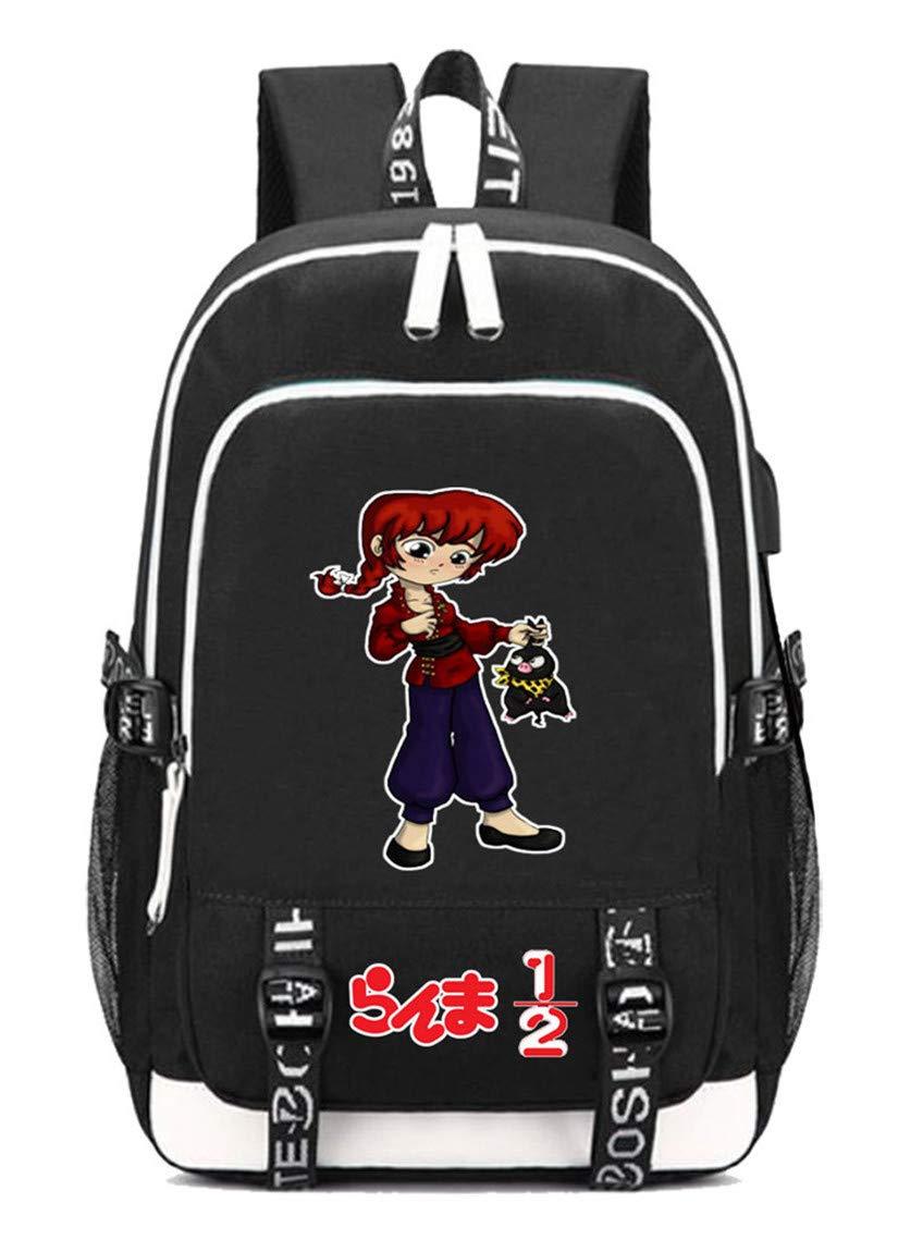 Ranma 1 2 4 Cosstars Ranma 1 2 Anime Rucksack Schoolbag Laptop Backpack with USB Charging Port and Headphone Jack  3