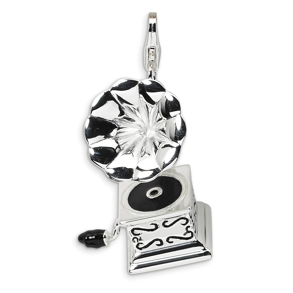 1.4IN long x 0.5IN wide Sterling Silver Rhodium Plated 3-D Enameled Phonograph with Lobster Clasp Charm