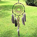 Dream Catcher ~ Handmade Traditional Feather Pendant Wall Hanging Home Decoration Decor Ornament Craft (Brown)