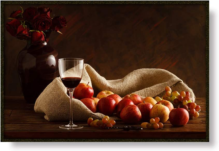 Canessioa Framed Canvas Wall Art for Living Room Bedroom Bathroom Office Kitchen Dining Room Decoration Red Rose on Vase Red Wine Apple Food Picture 18x12inch Still Life Poster Prints Modern Artwork