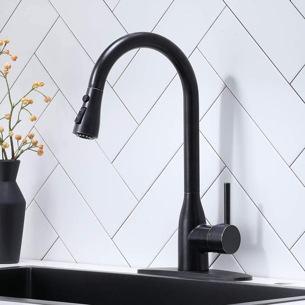 VESLA HOME Commercial Single Handle Pull Out Sprayer Oil Rubbed Bronze Lead-Free Brass Kitchen Faucet, Kitchen Sink Faucets with Deck Plate