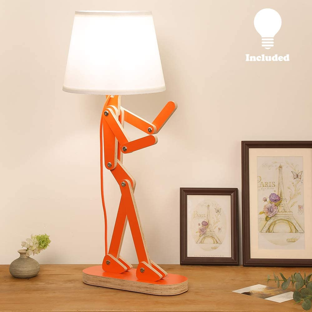 HROOME Novelty Cool Tall Desk Lamp with Swing Arm, Modern Wood Adjustable Kids Table Lamp Bedside Light for Reading/Bedrooms/Living Room/Office/Girls/Boys - Oran Orange, Bulb Included