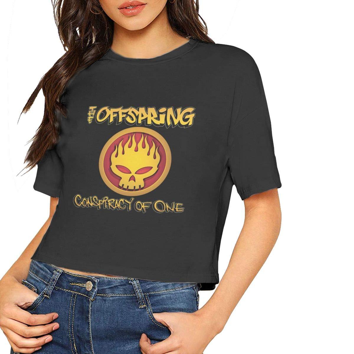 Seuriamin The Offspring Conspiracy Of One Summer Short Sleeve Leak Navel Crew Neck T Shirt