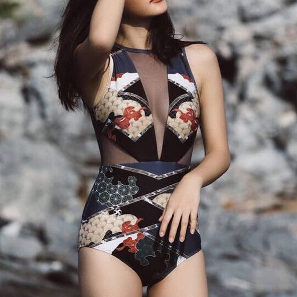 Hot!! Women Sexy Beach Suit GoodLock Ladies Fashion Ethnic Print Silk Mesh Bikini One-Piece Swimwear (Black, Small) by GoodLock (Image #2)