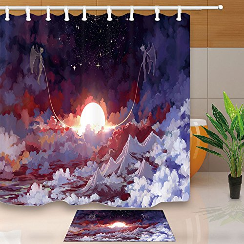 NYMB Fantasy Shower Curtain, High In The Clouds Angel And Demon Traction The Sun, 69X70in Mildew Resistant Shower Curtain Set With 15.7x23.6in Flannel Non-Slip Floor Doormat Bath Rugs (Demon Traction)