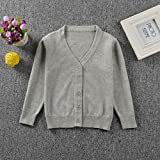 Dainzuy Baby Clothes Baby Tops,Dainzuy Toddler Kid Boys Girls Solid Colorful Knitted Sweater Cardigan Coat Tops (100 (18 Months, Gray)
