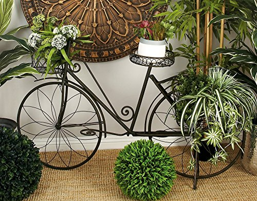 Deco 79 Metal Bicycle Garden Planter, Rustic Brown