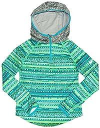 Nike Big Girls\' (7-16) Hyperwarm 1/2 Zip AOP Hoodie-Green/Blue-Medium