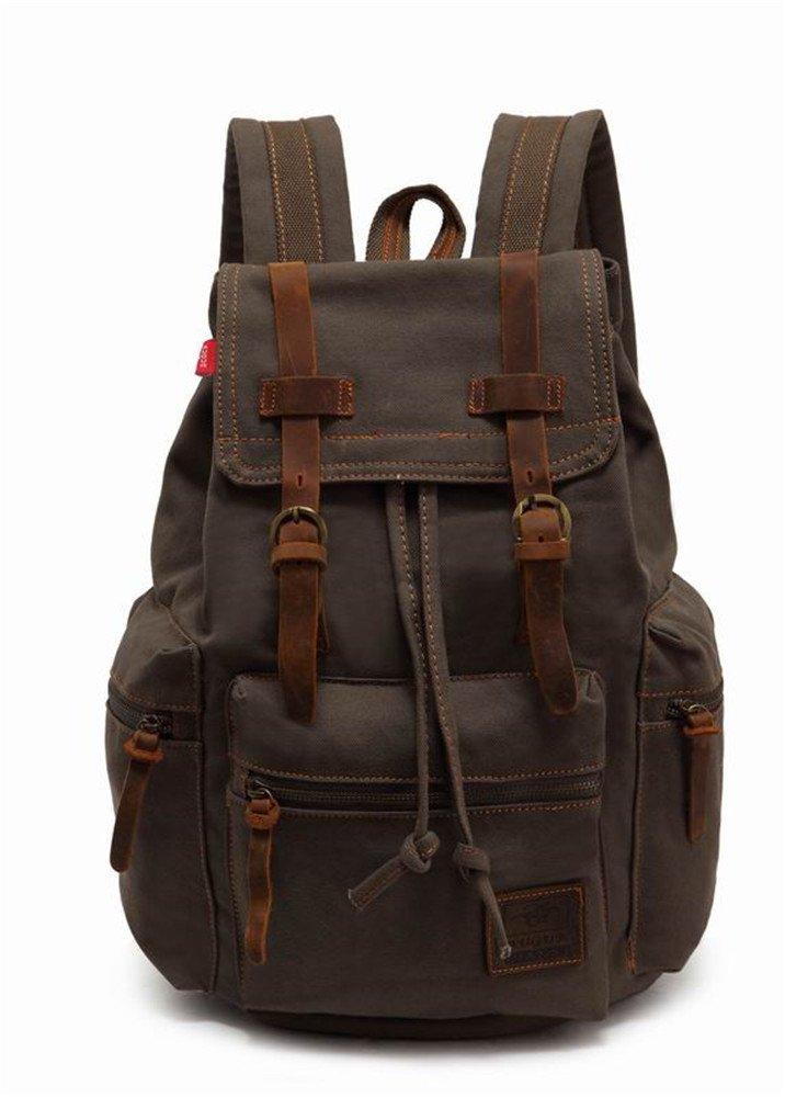 Augur Canvas Backpack, Large Vintage Casual Daypack Leather Rucksack Bookbag Travel Shoulder Bag Satchel for 15.6 Laptop (Army Green)