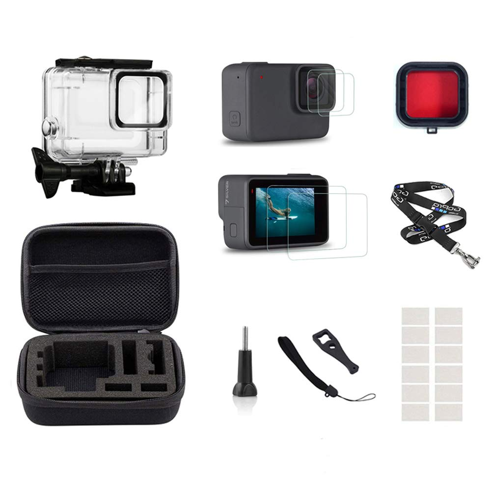 InBestOne Accessories kit for GoPro Hero 7 Silver/White with Waterproof Housing Case+Travel Case Small+Detachable Long Neck Strap Lanyard+ Screen Protector +Red Filter +Anti-Fog Insert by InBestOne