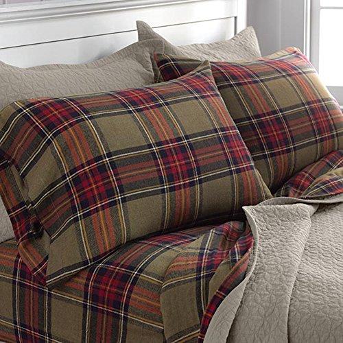 Orvis Olive Tartan Flannel King Size Sheet Seet (Flannel Tartan Sheets)