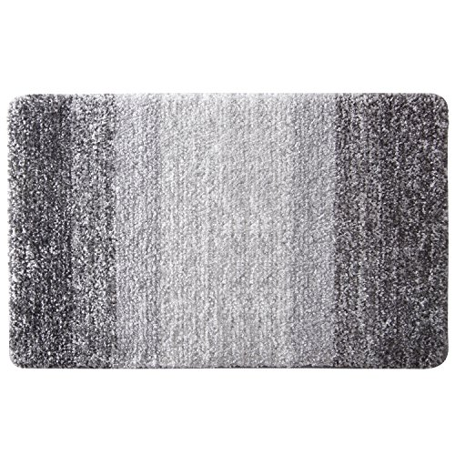 """Lifewit 32"""" by 20"""" Non-Slip Soft Fluffy Water Absorbent Shaggy Bath Mats Bathroom Rugs Machine Washable Mat Rug Grey"""