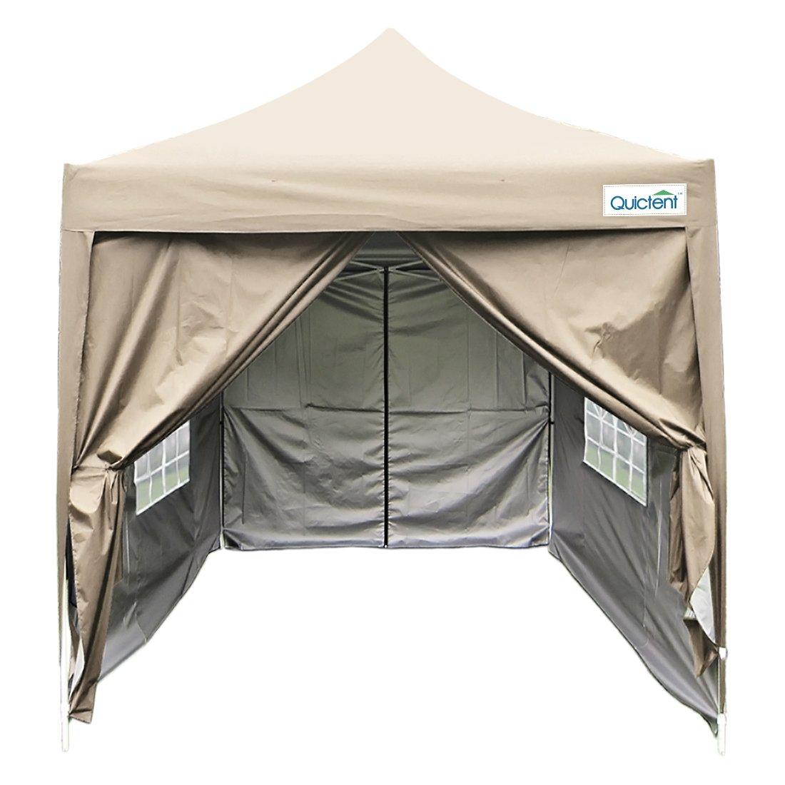 Quictent Silvox 6.6' X 6.6' Ez Set Pop up Gazebo Party Wedding Tent Canopy Marquee +4 Sidewalls +carry Bag 4 colors Waterproof (Beige)