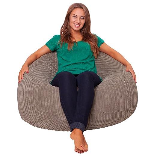 Luxury Microplush Cord Panelled XL Bean Bag Chair TAUPE