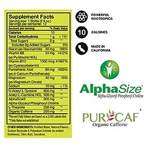 12 Shots of Extra Strength Nootropic Energy Boosts - 800mg Tyrosine, 500mg Carnitine, 300mg AlphaSize Alpha GPC, 250mg L-Theanine, 250mg Organic Caffeine, B12 - Made in USA